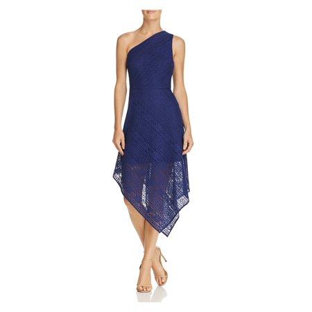 ADRIANNA PAPELL Womens Blue Lace Sleeveless Asymmetrical Neckline Tea Length Layered Prom Dress  Size: 8 Lace Tea Dress