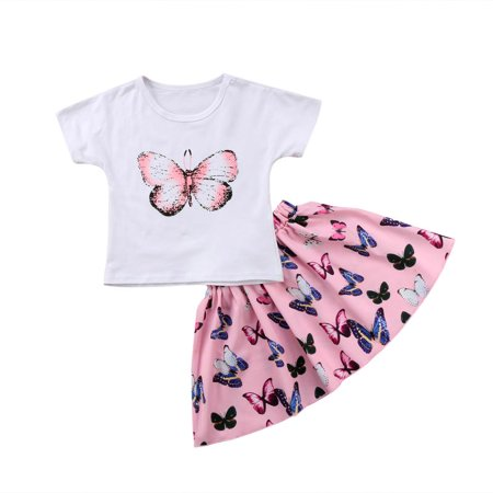 Toddler Baby Girls Butterfly Outfits Clothes Summer T-shirt Skirts Mini 2pcs Set - Butterflies Clothing