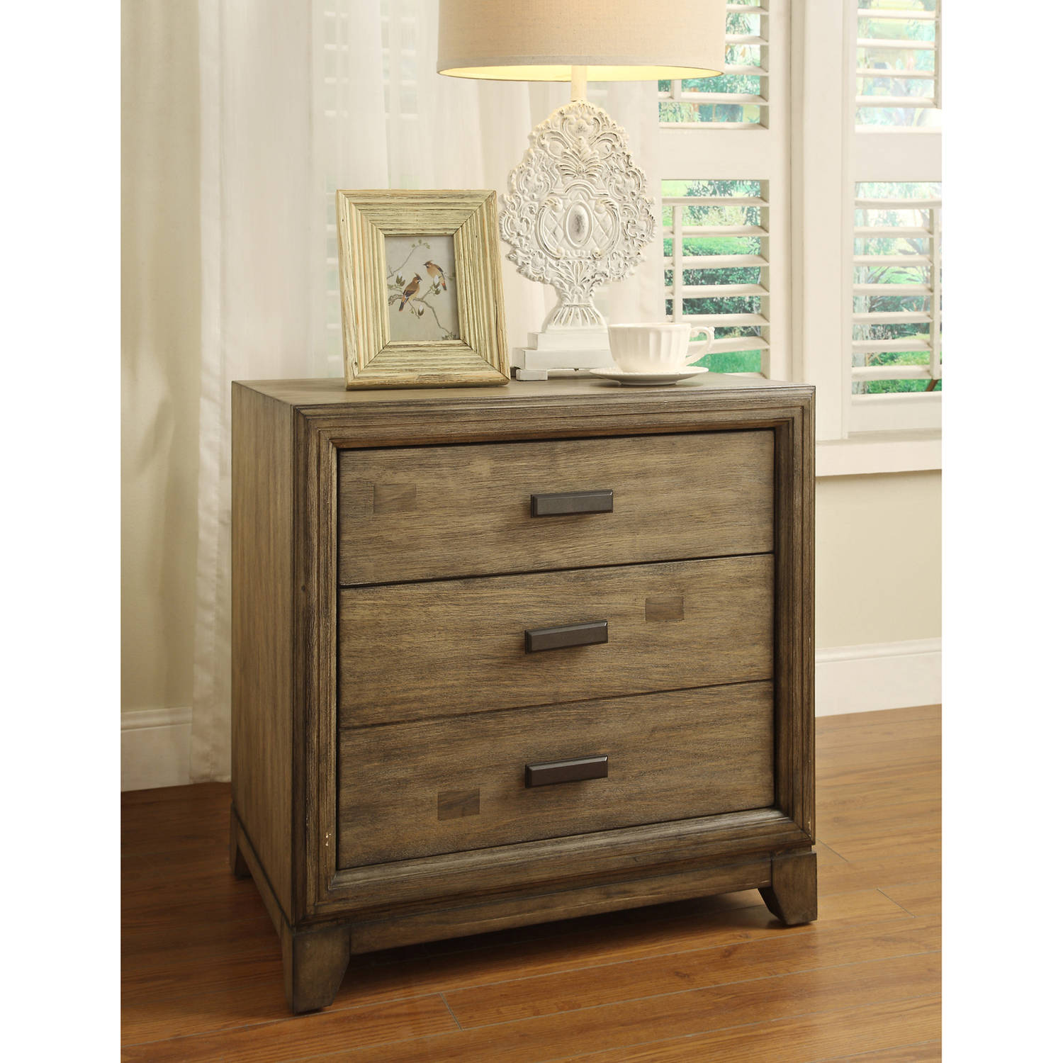 Furniture of America Vinnie Transitional Wood Detailed 2-Drawer Nightstand, Natural Ash