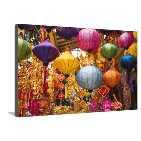 Vietnam, Hanoi. Tet Lunar New Year, Holiday Decorations for Sale Stretched Canvas Print Wall Art By Walter - Lunar New Year Decorations