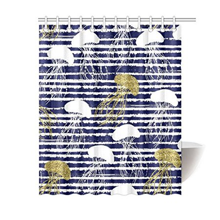 GCKG Sea Animal Stripes Shower Curtain, Golden Glitter Jellyfish Polyester Fabric Shower Curtain Bathroom Sets with Hooks 60x72 Inches - image 1 de 3