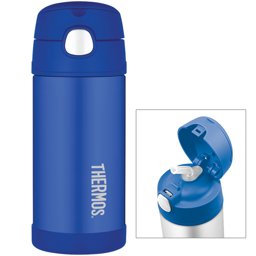 THERMOS FUNTAINER SS INSULATED STRAW BOTTLE 12OZ BLUE