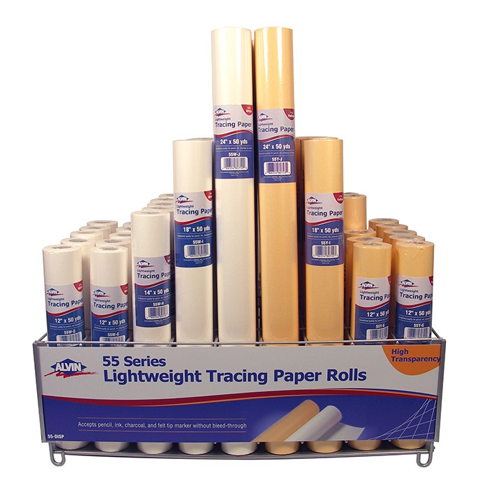 """ALVIN 55W-I LIGHTWEIGHT WHITE TRACING PAPER ROLL 18/"""" X 50YD"""