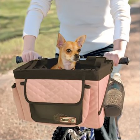 Snoozer Pet Dog Cat Puppy Travel Bike Bicycle Basket Back Seat With Safety Rain CoverPink