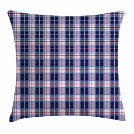 Checkered Throw Pillow Cushion Cover, Classical Vintage Design with Vibrant Colors Scottish Tartan Tile, Decorative Square Accent Pillow Case, 16 X 16 Inches, Maroon Royal Blue White, by - Scottish Decorative Tile