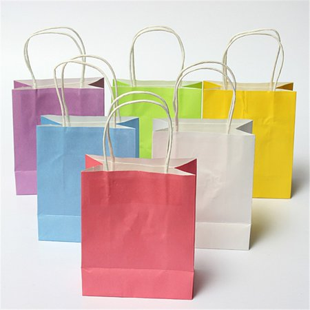 Shopping Bag Party Paper Present Wedding Favors Package Handle Kraft