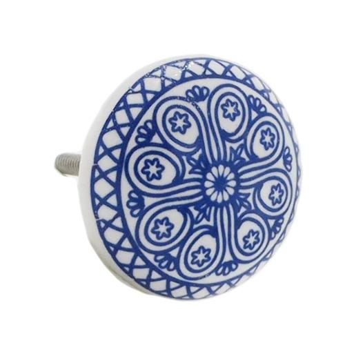 Shabby Restore Blue Wheel Ceramic Drawer/ Door/ Cabinet Pull Knob (Pack of 6)