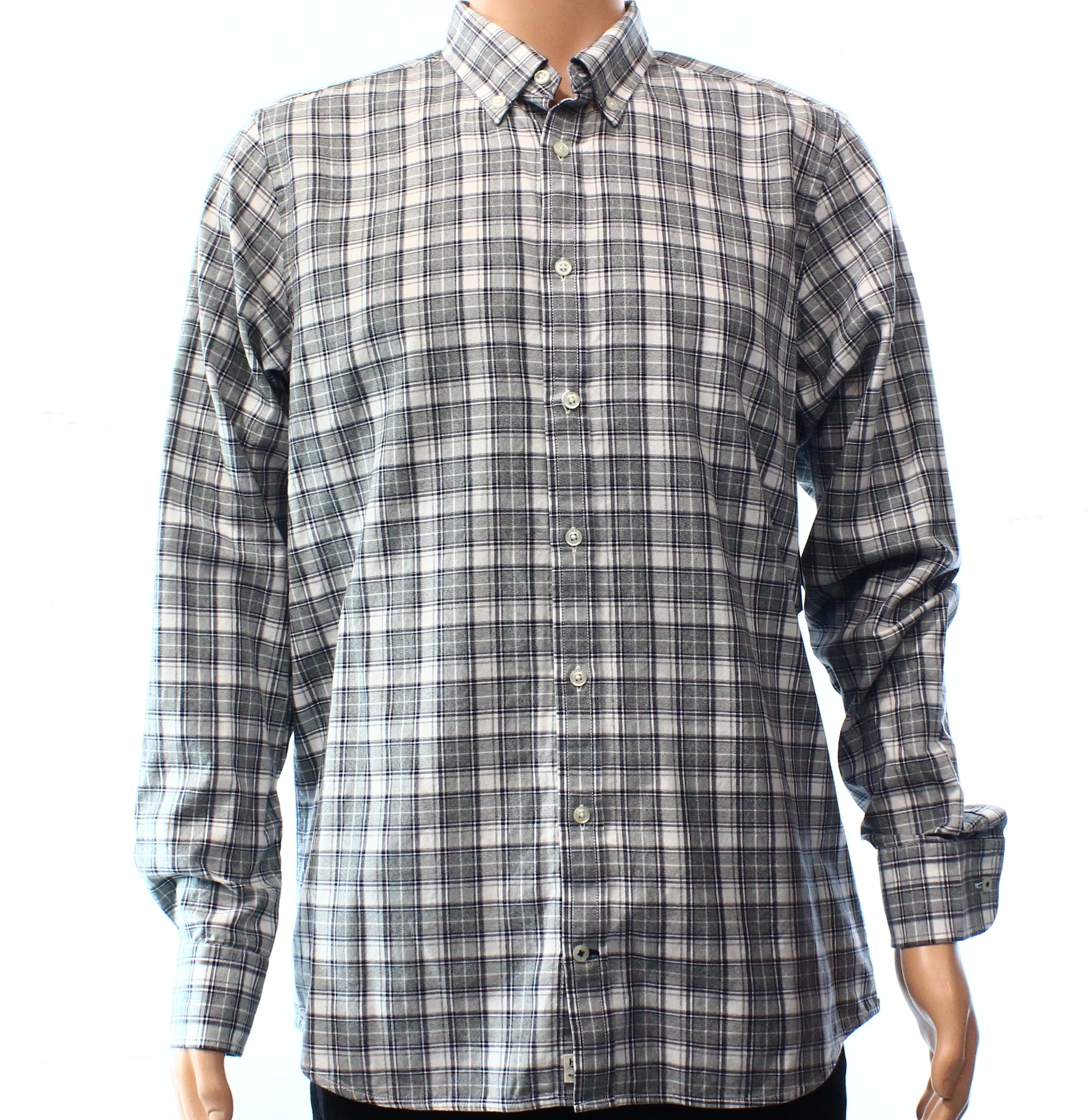 Tommy Hilfiger NEW Gray Mens Size XL Plaid Slim Fit Button Down Shirt