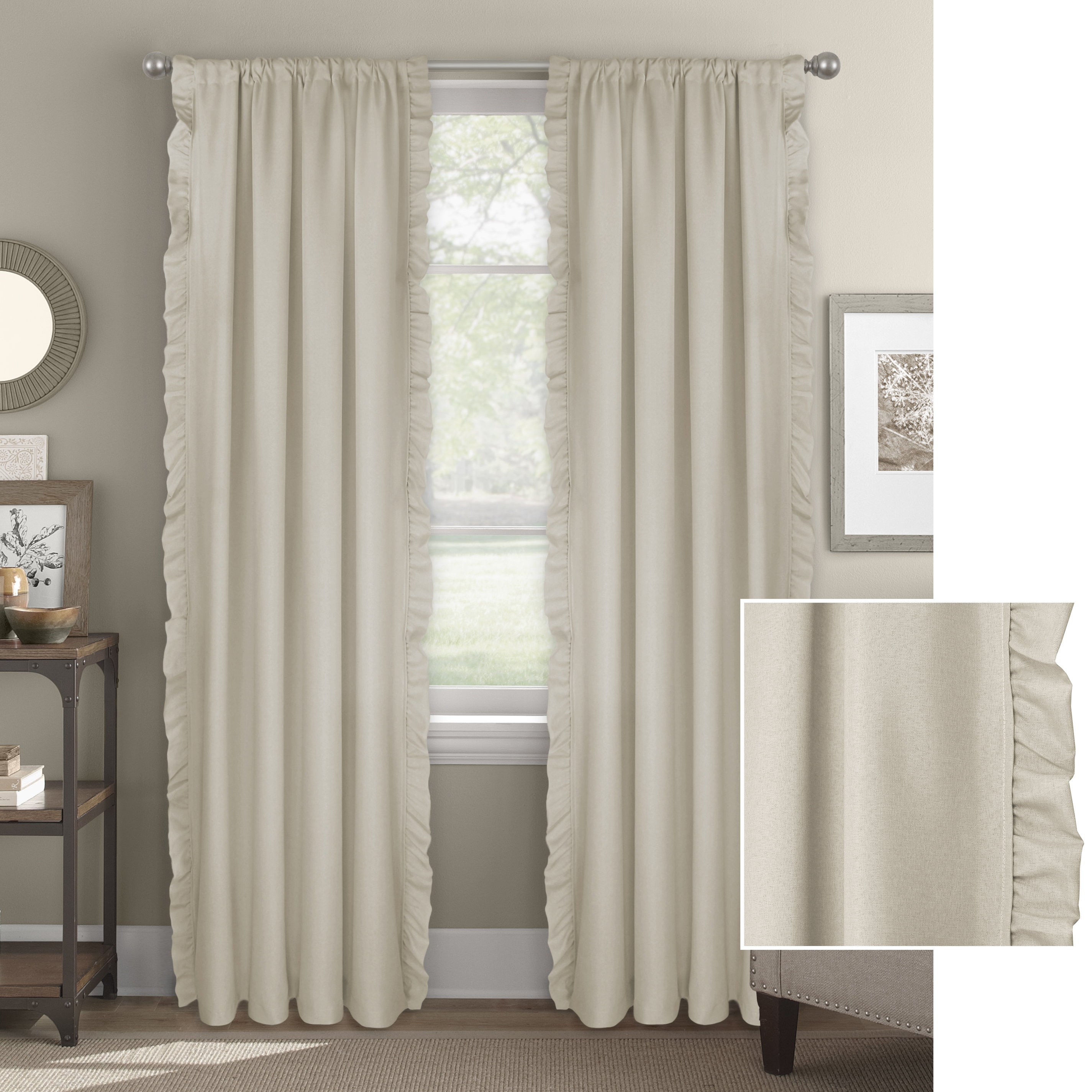 Better Homes & Gardens Vertical Ruffle Window Curtain Panel by Better Homes & Gardens