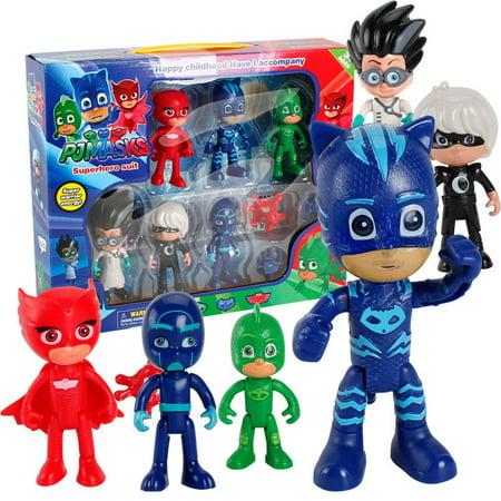 6 pcs pj masks toys catboy owlette gekko romeo night ninja luna