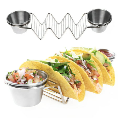 Fine Stainless Steel Serveware - 2 Packs Taco Holders, Stainless Steel Taco Stands with 4 Sauce Cups Taco Rack Tray Style Holds Up to 6 Tacos