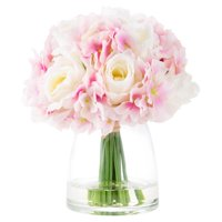 Pure Garden Hydrangea and Rose Artificial Floral Arrangement with Vase