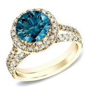 Auriya  1ct TDW Round Blue Diamond Halo Engagement Ring Set 14k Gold