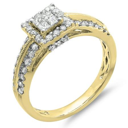 1.00 Carat (ctw) 10K Yellow Gold Princess & Round Cut Diamond Ladies Bridal Engagement Ring 1 CT