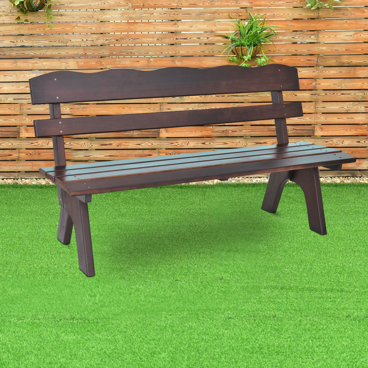 5Ft 3 Seats Outdoor Garden Bench Chair Wood Frame Yard Furniture Brown