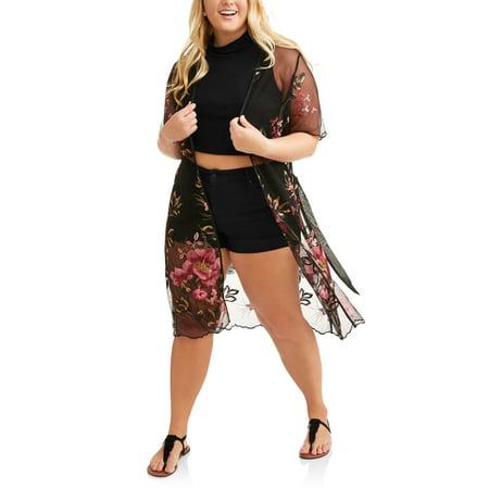 Mesh Kimono - Poof Junior Plus Floral Mesh Tie Fashion Jacket