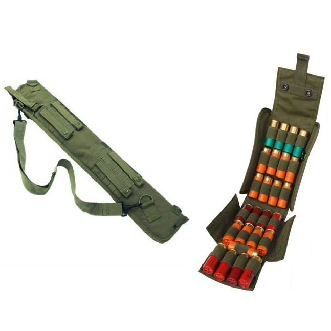 "Ultimate Arms Gear Tactical 29"" OD Olive Drab Green Molle Scabbard For Winchester 1200 / 1300 / Super X SXP X3 12 Gauge Shotgun + Tactical OD Olive Drab Green Molle 25 Shot Shell Ammo Carrier Pouch"