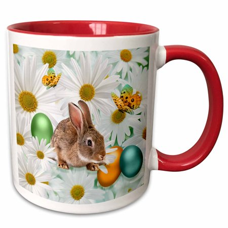Daisy Mug (3dRose Easter Bunny Daisy Garden with Colored Eggs and Butterflies - Two Tone Red Mug,)