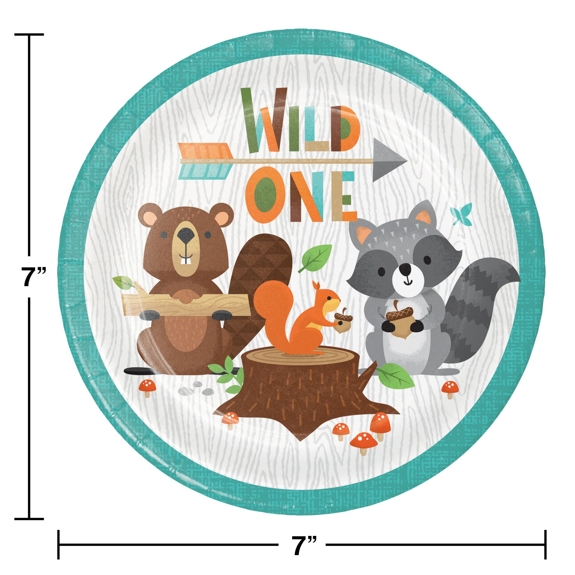 114 Pack Wild One Party Supplies Wild One Disposable Tableware with Wild One Plates Cups Napkins Banner Cake Topper Serves 16 for Wild One Baby Showers First Birthday Decorations
