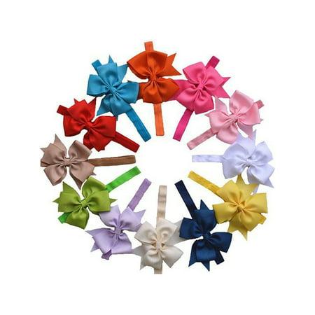 Coxeer 12 Pcs Baby Girls Grosgrain Ribbon Hair Bows Headbands For Teens Women Girls Kids (Colorful)