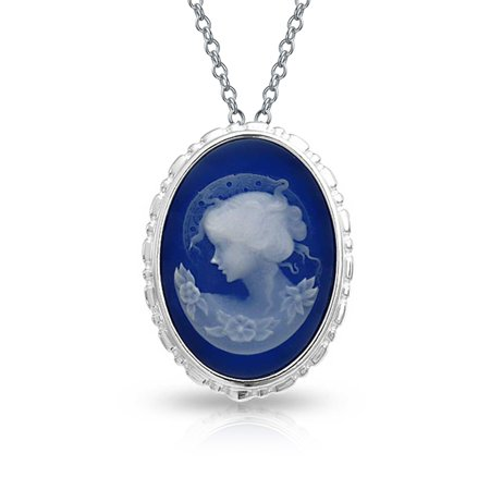 - Classic Vintage Style 2 in 1 Blue White Oval Shape Mothers Cameo Brooch Pin or Pendant 925 Sterling Silver 18 inch