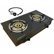 Double 2 Burner Propane Gas Stove-Portable Cooker Camp Stove-Table Top Glass STYLE Cast Iron Burner