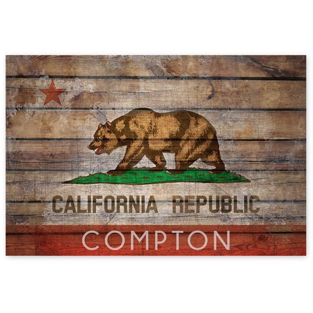 Patriotic Theme Ideas (Awkward Styles Compton Unframed Poster Wall Decor Compton Art for Living Dining Room Compton Flag Wall Art Ideas Printed Poster Cali Lovers Cali Gifts Bear Patriotic Picture for Home Cali)