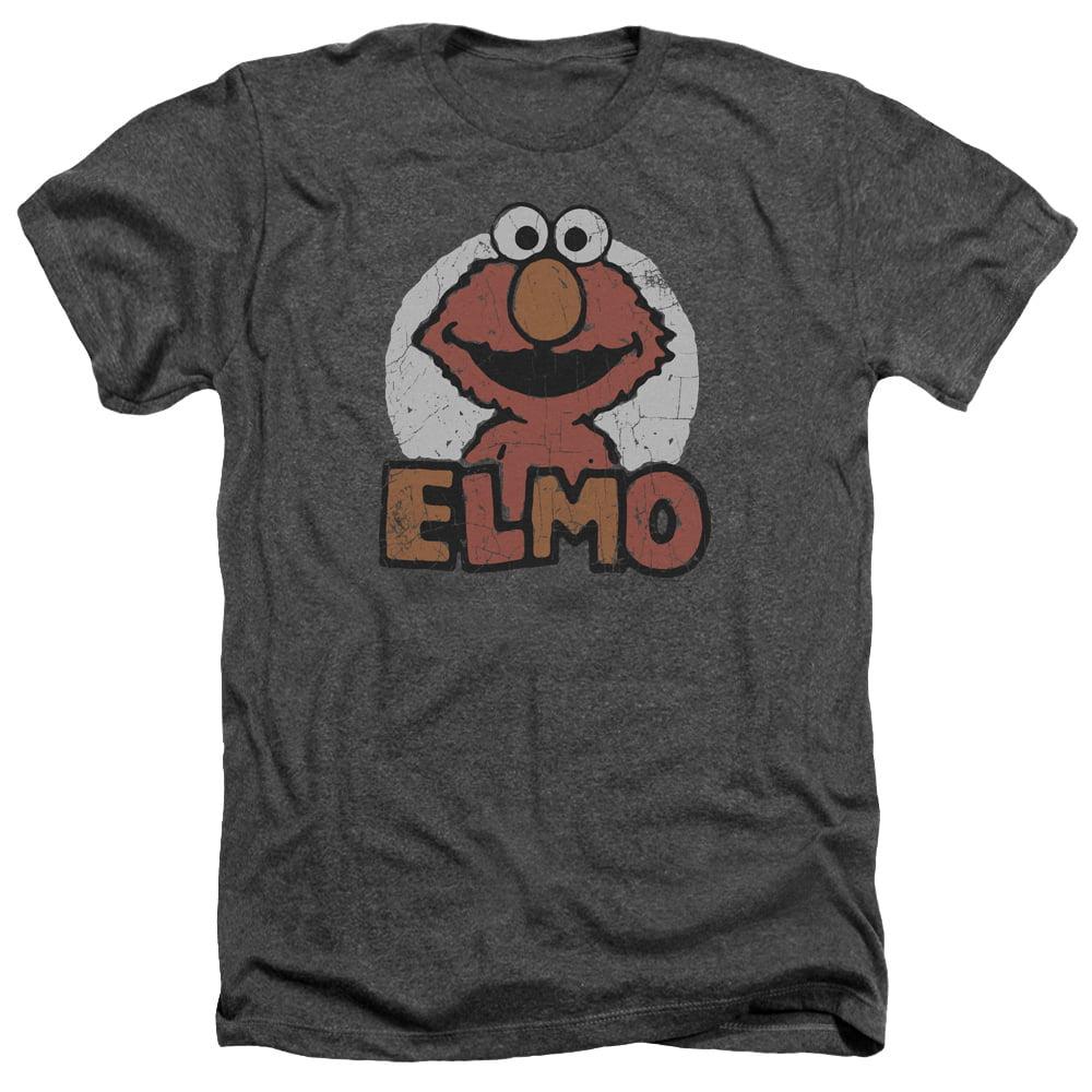Sesame Street Classic TV Show Elmo Distressed Adult Heather T-Shirt Tee