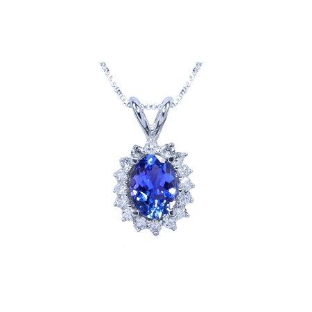 "3.12 Ct Oval Tanzanite & Diamond Solid 14K White Gold Pendant Earring Set 18"" - image 1 of 4"