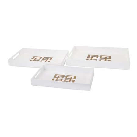 Set of 3 Classic White and Gold Greek Key Pattern Rectangular Decorative Table Top Trays with Recessed Handles (White Gold Greek Key)