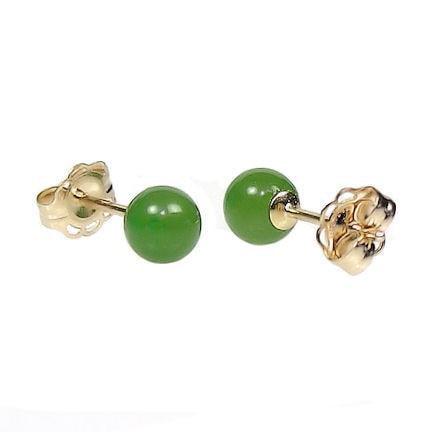 Nephrite Jade - Trustmark 14/20 Gold Filled 4mm Natural Nephrite Green Jade Ball Stud Earrings