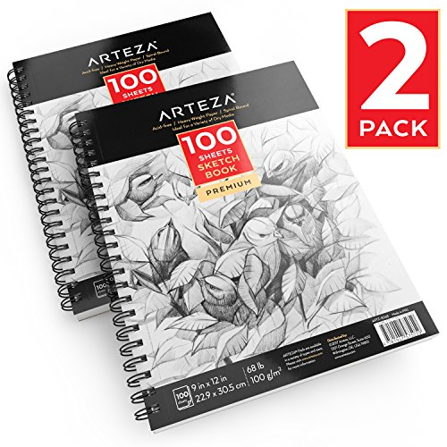 Arteza 9 X 12 Sketch Book (68lb/100g, 100 Sheets, 2 Pack)