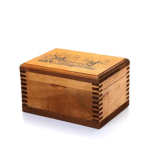 Evans Sports Mini Wooden Box, 2 Trophy Deer Print by EVANS SPORTS INC