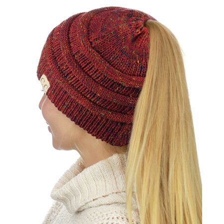 aeeca3eb078 C.C BeanieTail Cotton Blend All Season Daily Messy High Bun Ponytail Beanie  Hat