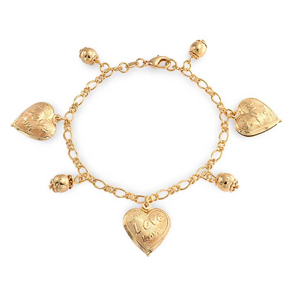 Bling Jewelry Message Love Heart Charm Bracelet 18k Gold Plated Br 7 5 Inch