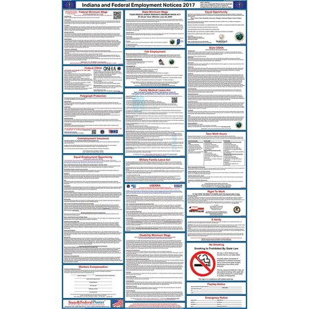 2017 Indiana State And Federal Labor Law Poster  Laminated