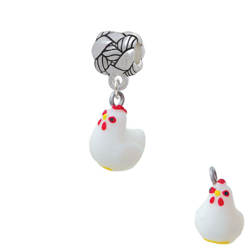 Resin White Chicken - Woven Rope Charm Bead