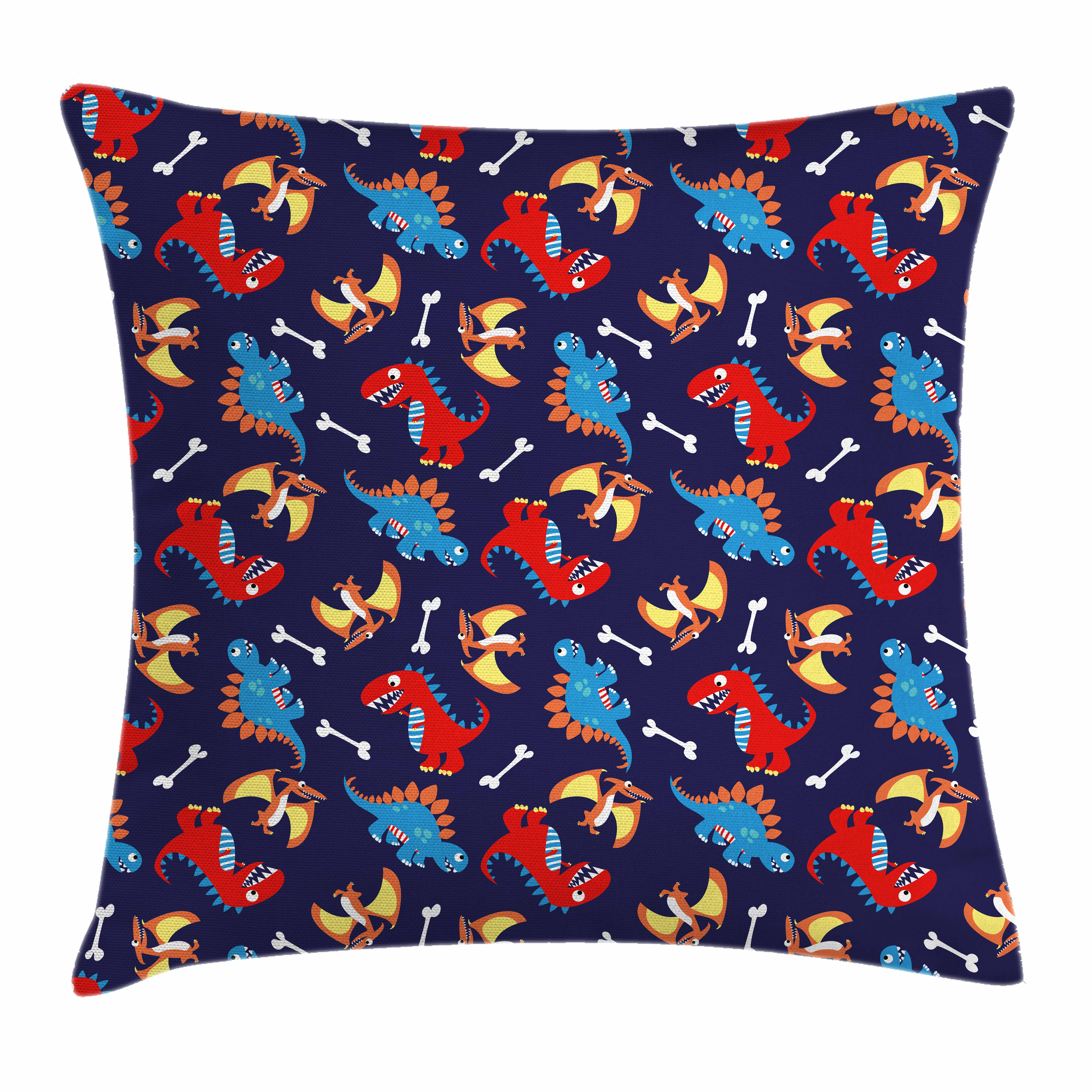 Dinosaur Throw Pillow Cushion Cover, Three Different Cartoon Dinosaurs Funny Expressions and Bones Kids Theme, Decorative Square Accent Pillow Case, 16 X 16 Inches, Navy Blue Orange Red, by Ambesonne