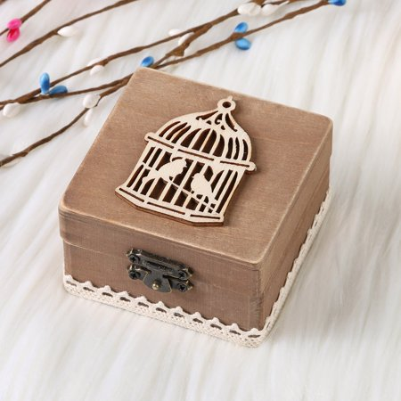 Mosunx Personalized Retro Wedding Ring Box Holder Shabby Chic Rustic Wooden Bearer Box