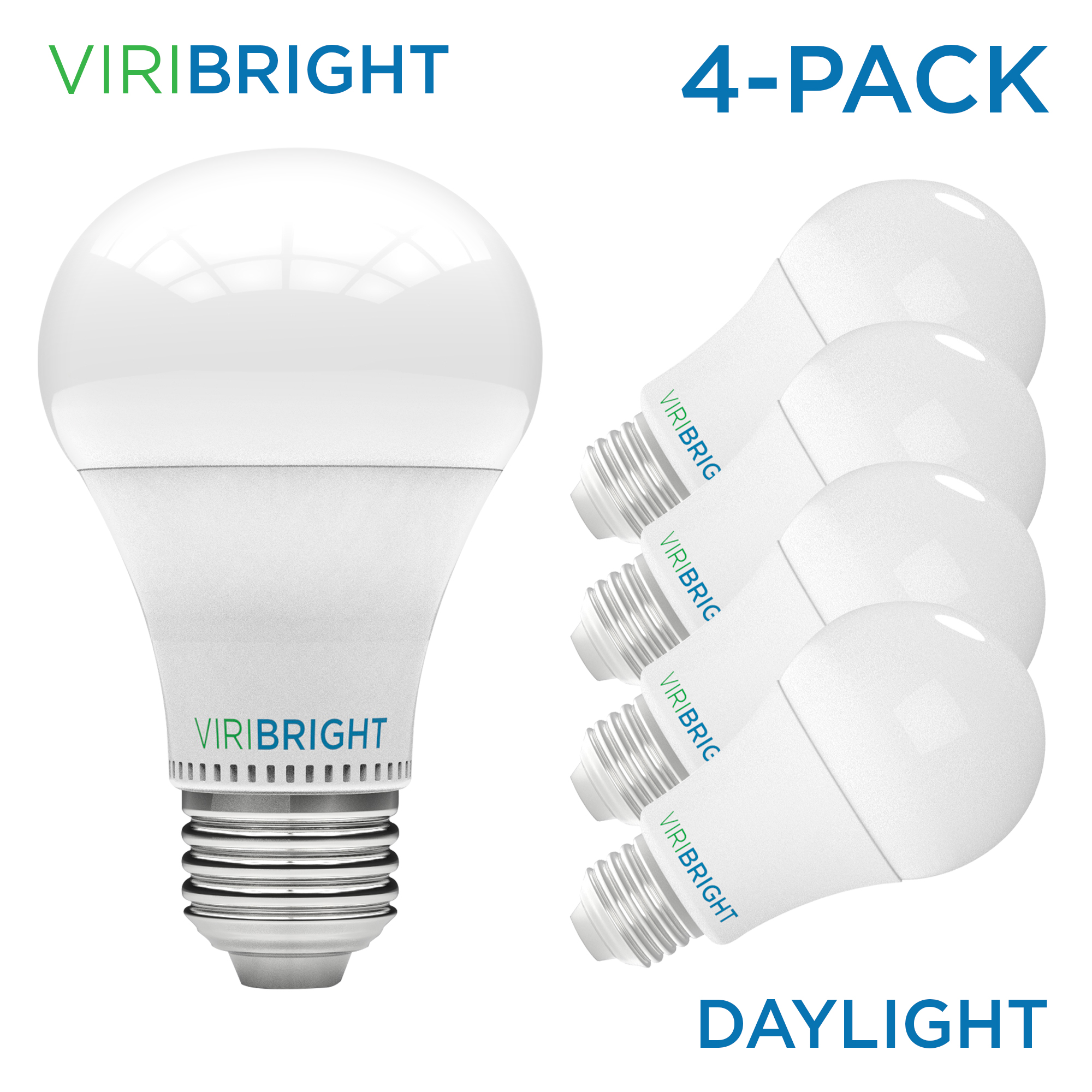 Viribright 100 Watt Equivalent Led Light Bulb 6500k Daylight Medium Screw Base E26 Pack Of 4 Walmart Com Walmart Com