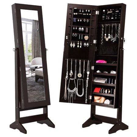 LANGRIA Free-Standing Lockable Carved Jewelry Armoire Cabinet with Full-Length Mirror and LED lights, 5 Shelves, Additional Mirror Inside, Organizer for Rings, Earrings ()