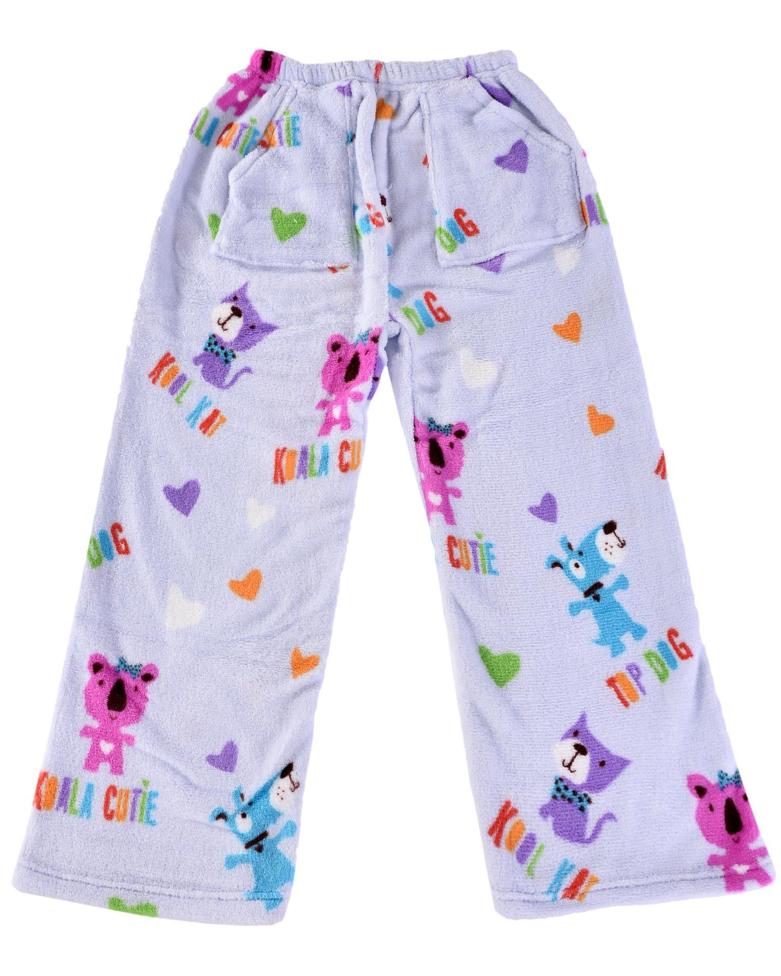 iscream Big Girls' Heavyweight Fun Print Plush Fleece Pants, Kool Friend, Size: 14-16