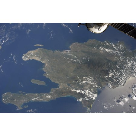 A View Of The Caribbean Island Of Hispaniola From The International Space Station Poster Print
