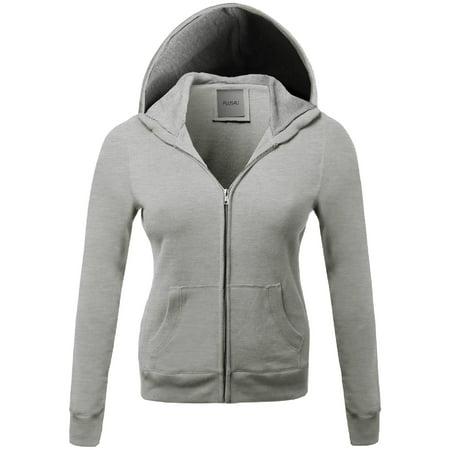 3330703e5 FashionOutfit Women's Warm Fleece Zip up Hoodie Thermal Contrast Plus Size