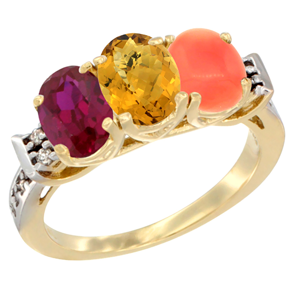 14K Yellow Gold Enhanced Ruby, Natural Whisky Quartz & Coral Ring 3-Stone Oval 7x5 mm Diamond Accent, sizes 5 10 by WorldJewels