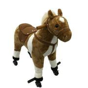 Qaba Kids Plush Wheeled Ride On Walking Horse