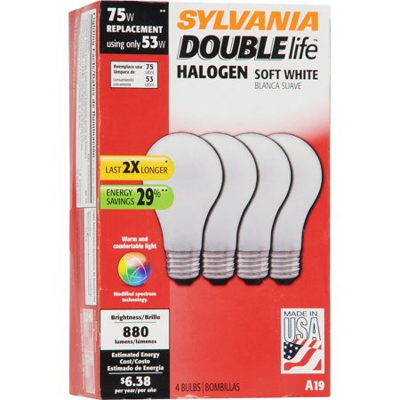 Sylvania Double Life 53W Halogen Light Bulbs, Soft White, 4-Pack