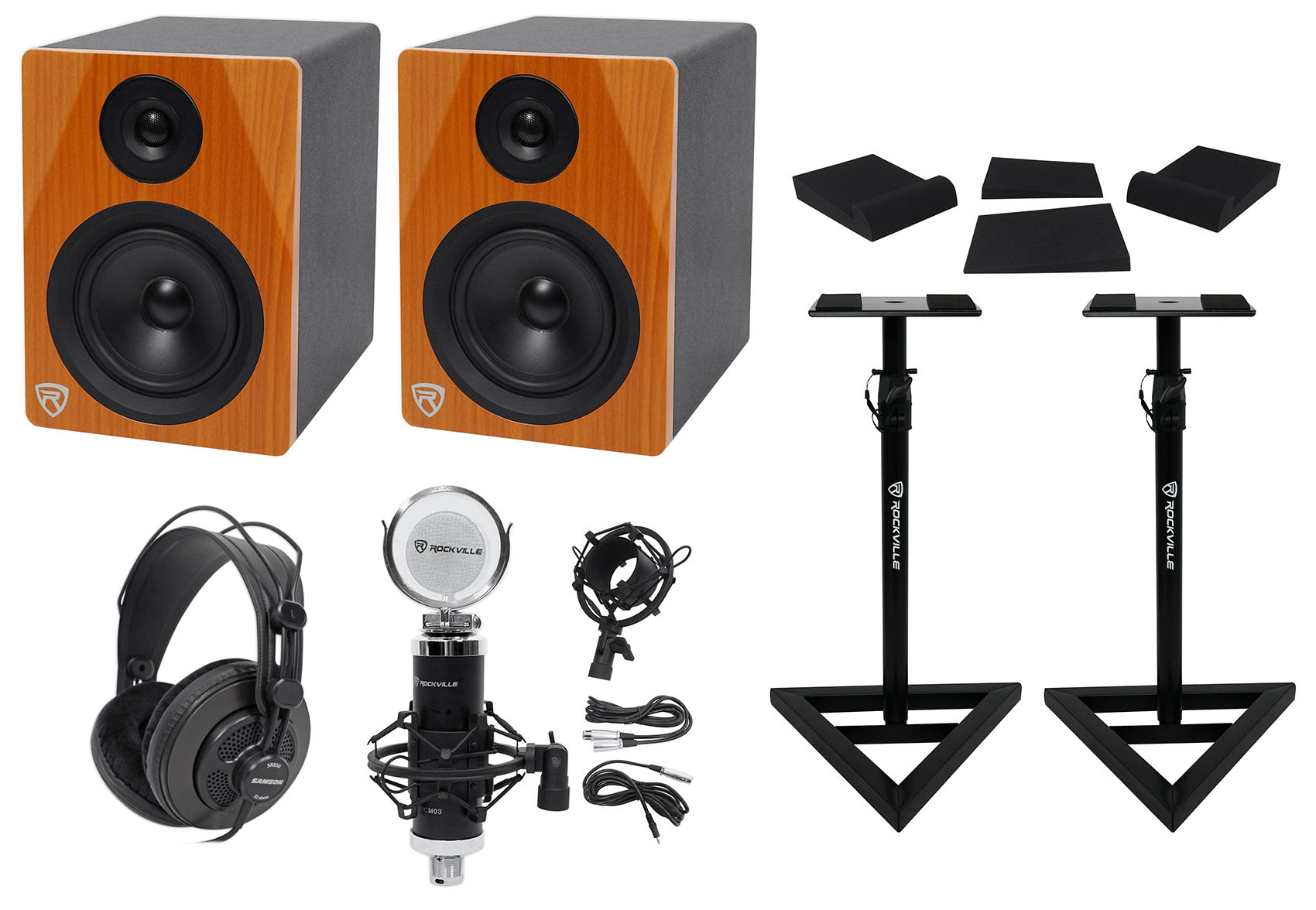 "(2) Rockville DPM5C 5.25"" 300w Dual Active Studio Monitors+Stands+Headphones+Mic by ROCKVILLE"