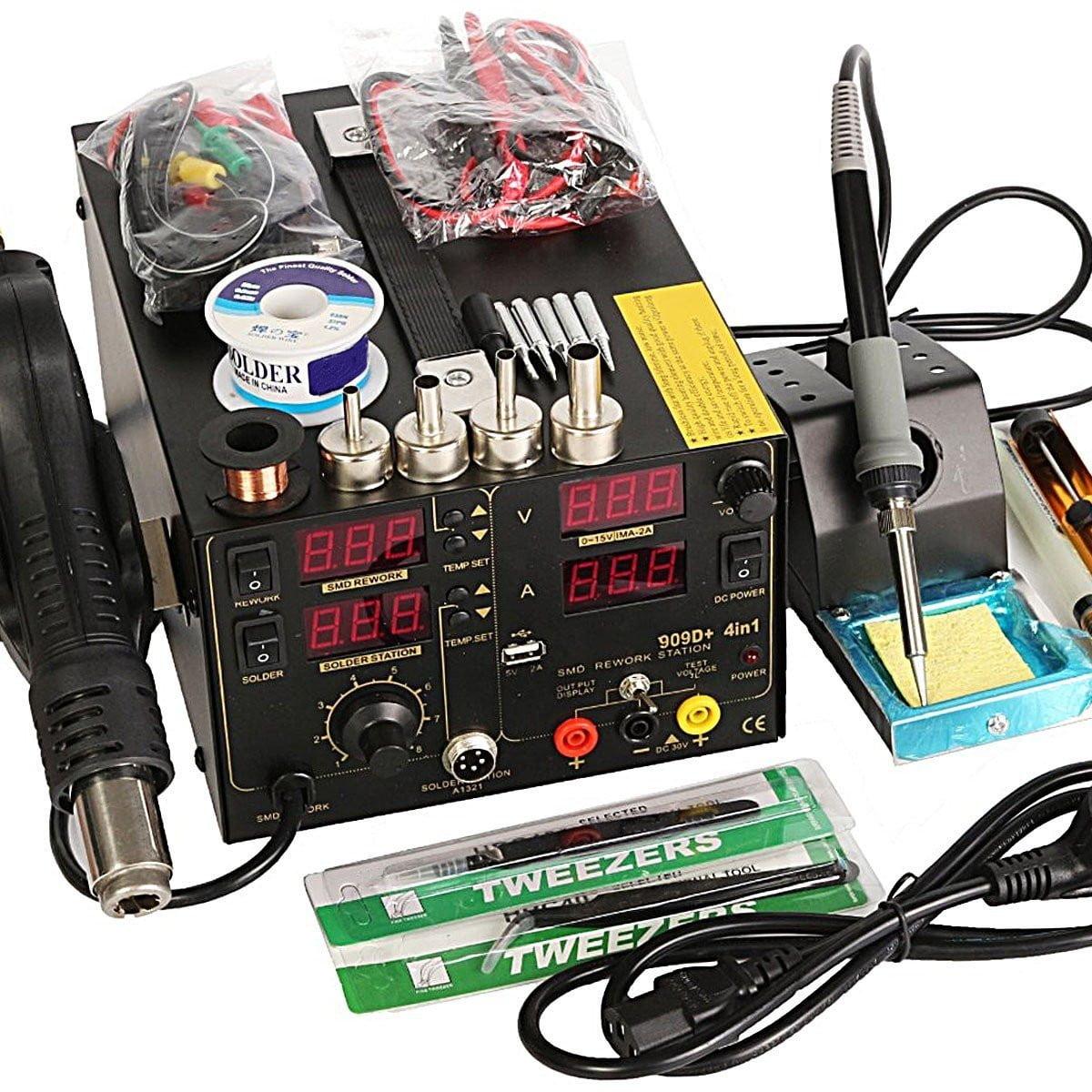 909D+ 4 in1 Rework Soldering Station Hot Heat Air Gun DC USB Power Supply Tool 220V AC by