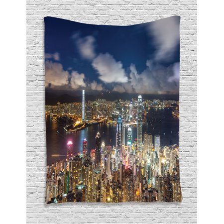 Apartment Decor Tapestry  Night View Hong Kong Victoria Harbor Business Financial District Cityscape  Wall Hanging For Bedroom Living Room Dorm Decor  60W X 80L Inches  Navy White  By Ambesonne